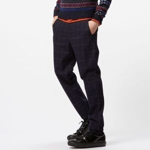 Uniqlo Navy Windowpane Jogger Pants